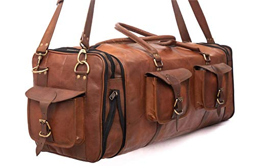 Large Leather Overnight Duffle Bag - Handmade 30 inch, 1 x Padded Laptop Compartment and 3 More, 4 x Pockets - Handsome Patina Deepens as Ages - Waterproof, Ideal Business, Travel, Gym - Men or Women ()