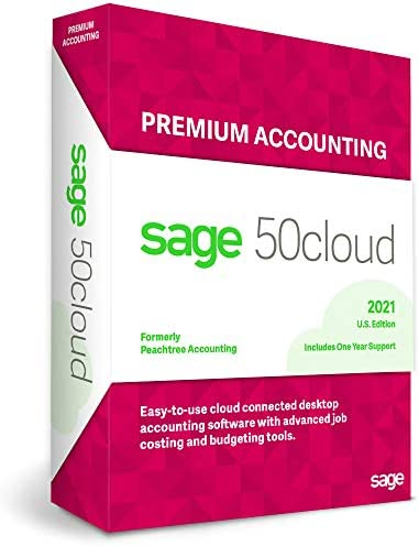 Sage Software Sage 50cloud Premium Accounting 2021 U.S. 2-User One Year Subscription Cloud Connected Small Business Accounting Software (2-Users)