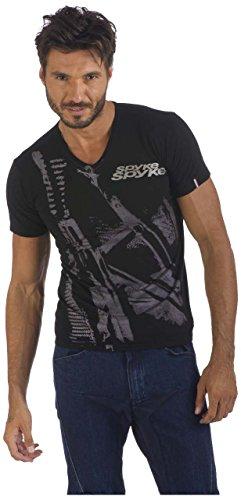 Spyke JMA3Original Bikers Jeans Shirt Herren, Kurzarm, Black, S