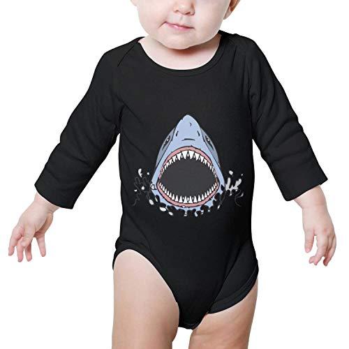 Godfer Arabe. Unisex Long Sleeve Great White Shark Bite Baby Onesies Bodysuit Jumpsuit ()