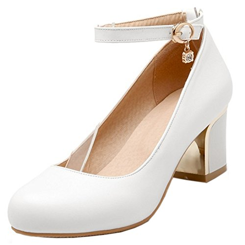 White Closed Shoes Women Block Strap Round Toe Heel TAOFFEN Pumps Ankle Basic HPqC0v