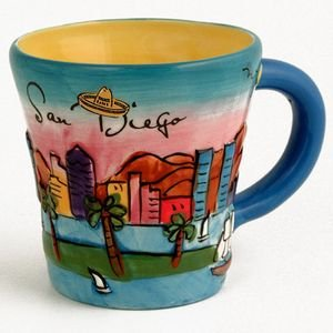 - (20 7/18) CM San Diego Coffee Mug Hand Painted Yellow Trumpet Mug SDMUGOLA With Exclusive CA Bear Magnet