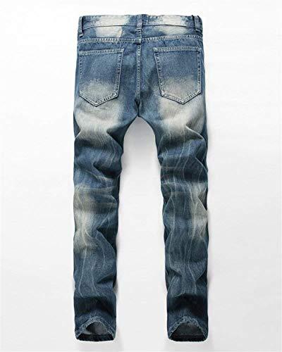 Estilo Da Casual Dritti Denim Con Jeans Risvolto Retrò In Dunkelblau Slim Pantaloni Fit Uomo Distrutti Especial wzqT1T