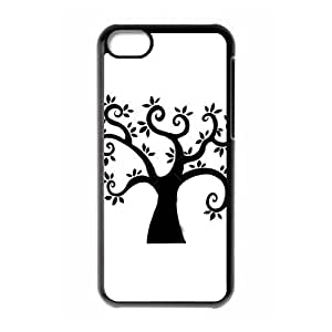 TYHde HOT sale,black cartoon tree pattern for black plastic iphone 4/4s case ending