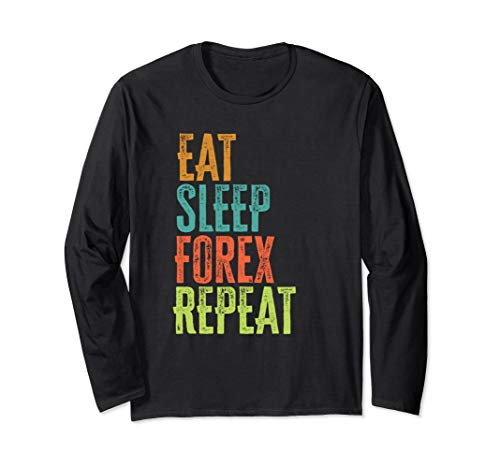 Retro Eat Sleep Forex Repeat Trader Day Profits Pips EA Auto Long Sleeve T-Shirt
