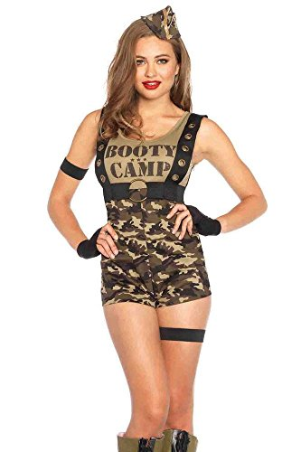 Army Woman Halloween Costume (Leg Avenue Women's 6 Piece Booty Camp Cutie Military Costume, Camo, Medium)