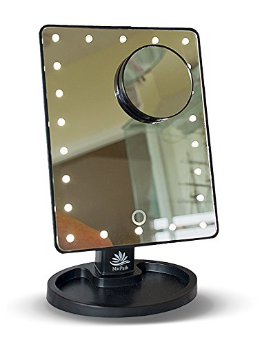 Makeup, Cosmetic, Vanity and Shaving mirror by NAT-PATH with lighting and additional 10 x Magnifier for close up work. Large number of 22 LED lights, including Batteries (In White or Black)