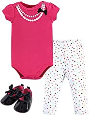 Little Treasure Baby-Girls Cotton Bodysuit, Pant and Shoe Set