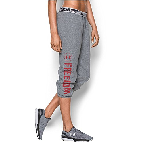 Under Armour Women's Freedom Favorite Fleece Capris, True Gray Heather/Red, Large