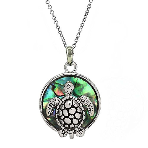 Silver Tone Rhodium Plated Sea Turtle Small Medalion Pendant Necklace on 18 Inches Stainless Steel Chain (Rhodium Turtle)
