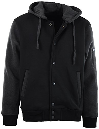 Review ChoiceApparel® Mens Baseball Varsity Jacket With Detachable Hoodie (M, 901-Charcoal/Black)