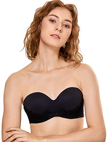 (DOBREVA Women's Underwire Bandeau Lightly Lined Multiway Strapless Bra with Lace Black 34C)