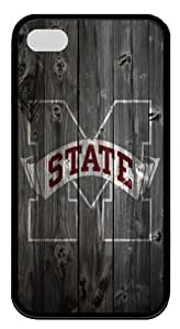 Mississippi State Bulldogs wood background Iphone 4 4S Case Rubber Material black by runtopwell