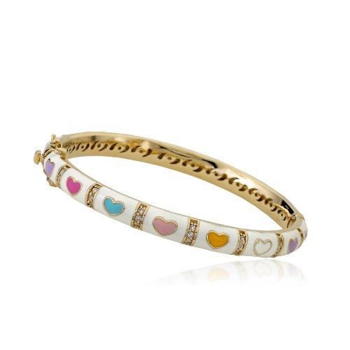 Little Miss Twin Stars Outfit Makers 14k Gold-Plated White Bangle CZ Lines & Multi Color (Multi Color Enamel Bracelet)