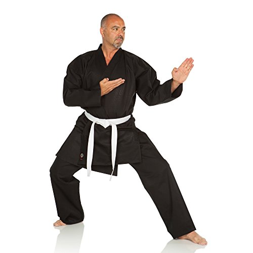 Ronin Karate Gi - Lightweight Student Karate Uniform - Professional Quality Made Kimono - Advanced 100% Cotton Martial Arts Kit Style Karate Training for Adults & Kids. (Black, 00)