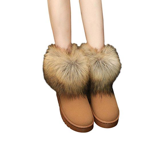 Fuyingda Ladies Women Winter Snow Faux Fur Fluffy Ankle Boots Warm Comfy Casual Flat Shoe Camel