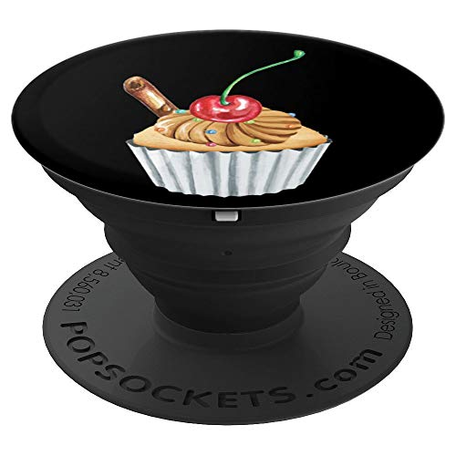 Cute Chocolate Cupcake with Cherry - PopSockets Grip and Stand for Phones and Tablets