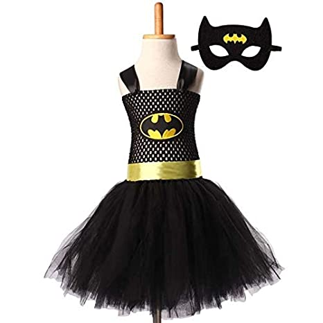 Hiswill Superman Batman niñas Tutu Vestido con Mascara Super héroe inspira bebé Traje C