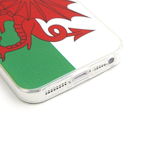 iProtect Apple iPhone 5 5s SE Soft Case Housse en TPU 0,3mm Pays de Galles