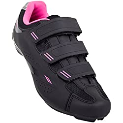 Tommaso Pista Women's Road Bike Cycling Spin Shoe Dual Cleat Compatibility - Black/Pink - 39