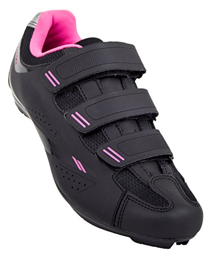 Tommaso Pista Women's Road Bike Cycling Spin Shoe Dual Cleat Compatibility - Black/Pink - 40