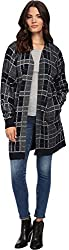Three Dots Womens Knit Ribbed Trim Duster Sweater Navy M