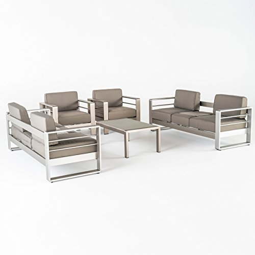 Great DeaL Furniture 298343 Crested Bay Outdoor Aluminum 5-Piece Sofa Set with Khaki Cushions, ()