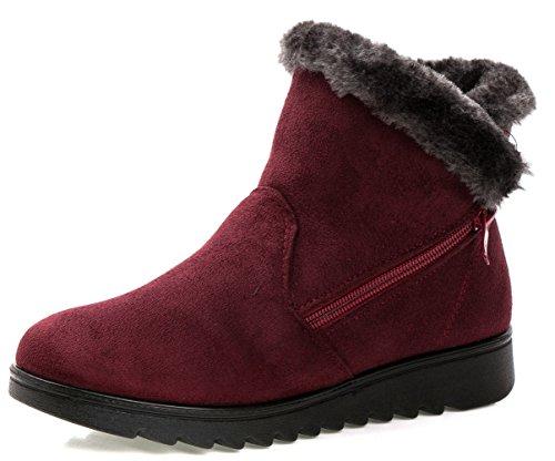 Botas De Nieve Dadawen Para Mujer Winter Warm Side Zipper Red