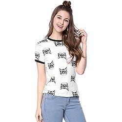 Allegra K Women's Short Sleeve Contrast Cartoon Cat Pet Print Tee Ringer T-Shirt Tops XL White