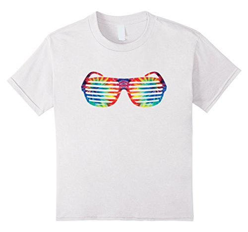 Kids Tie Dye Shudder Shade Sunglasses | 80s Retro T-Shirt 8 White