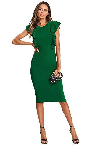 Ruffle Trim Woman (Floerns Women's Ruffle Trim Knee Length Pencil Dress Green L)