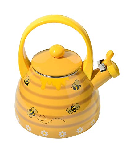 Home-X - Honey Bee Tea Kettle, 2.4 Quart Whistling Tea Kettle for Gas Top or Electric Stoves, The Perfect Addition to Any Kitchen