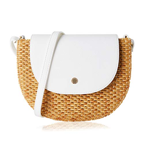 Straw Crossbody Saddle Bags For Women Woven Hasp Cross Body Bag Satchel (One, Saddle/Ivory)