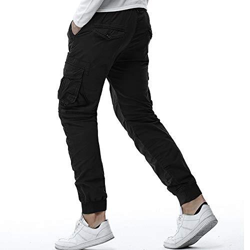 casual da vita uomo intera collo lavoro uomo a a largo e con vita da cerniera da nero pantaloni Pantaloni lunga Xx0wpqE