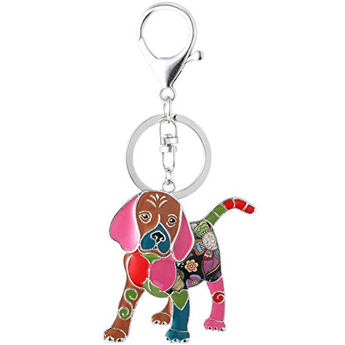 (Marte&Joven Multicolor Beagle Puppy Keychains for Women Unique Enamel Dog Lover)