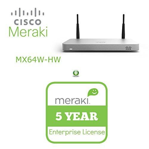 Cisco Meraki MX64W Wireless Firewall Security Appliance Bundle, 200Mbps FW, 5xGbE Ports - Includes 5 Years Enterprise License by Cisco Systems