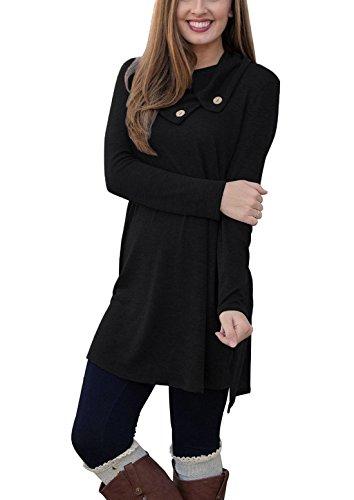 Our Precious Womens Long Sleeve Button Lapel Neck Sides Slit Shirt Dress Black M