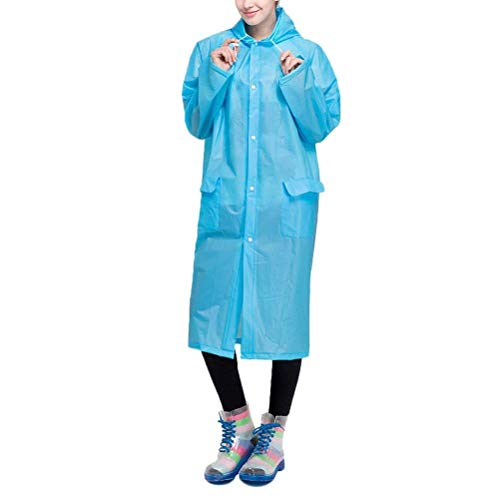 Basic Unisex Azul Capucha Delanteros Poncho De Con Hx Impermeable Color Bolsillos Fashion Ropa Sólido Adulto FqExXn1U