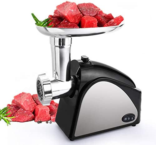 Homdox Electric Meat Grinder, 2000W Meat Mincer with 3 Grinding Plates and Sausage Stuffing Tubes for Home Use Commercial, Stainless Steel Silver Dishwasher safe 2000W Max