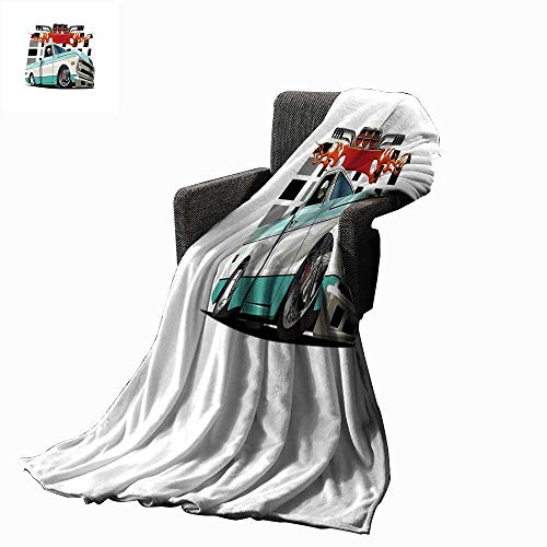 - Truck Throw Blanket Lowrider Pickup with Racing Flag Pattern Background Speeding on The Streets Modified 60