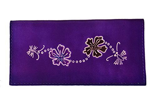 Leather Checkbook cover, a Hawaii Flowers and Bee pattern for sale  Delivered anywhere in Canada