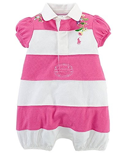 Ralph Lauren Polo Baby Girls Embroidered Rugby Shortall Romper (9 Months)