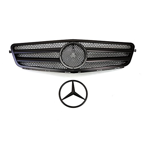 Vakker Mercedes Benz Front Matte Black Grill Grille C-Class W204, Chrome Hood Sport AMG Style, Compatable with Mercedes Benz 2008-14