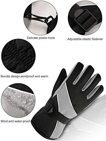 2 Pairs Winter Ski Gloves Waterproof Anti-Slip Snowboard Glove Warm Snow Glove for Men
