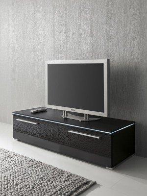 Tv schrank weiß hochglanz 120  Lowboard TV-Schrank 120 cm schwarz Fronten hochglanz, optional LED ...