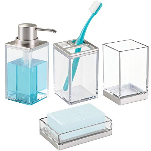 mDesign Bathroom Accessory Set, Soap Dispenser Pump, Soap Dish, Toothbrush Holder Stand, Tumbler Cup - Set of 4, Clear/Brushed Stainless - Glass Dish Soap Classic