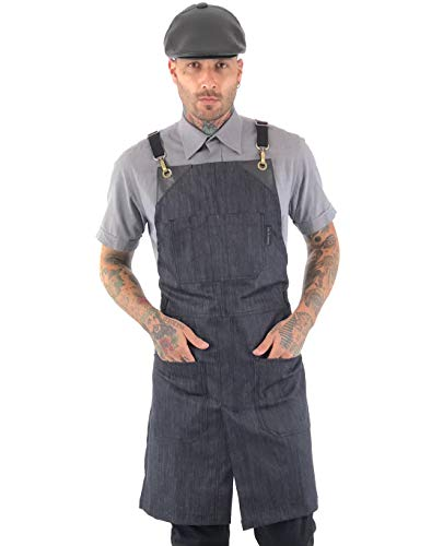 Under NY Sky Cross-Back Space Blue Apron - Durable Denim with Leather Reinforcement and Split-Leg - Adjustable for Men and Women - Pro Chef, Tattoo, Baker, Barista, Bartender, Stylist, Server Aprons