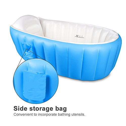 Inflatable Baby Bathtub,Topist Portable Mini Air Swimming Pool Kid Infant Toddler Thick Foldable Shower Basin with Soft Cushion Central Seat (Blue) by Intime (Image #1)