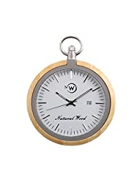 Kwock Natural Wood Pocket Watch Swiss Quartz Movement for Gentlemen on Christmas Day(Bamboo)