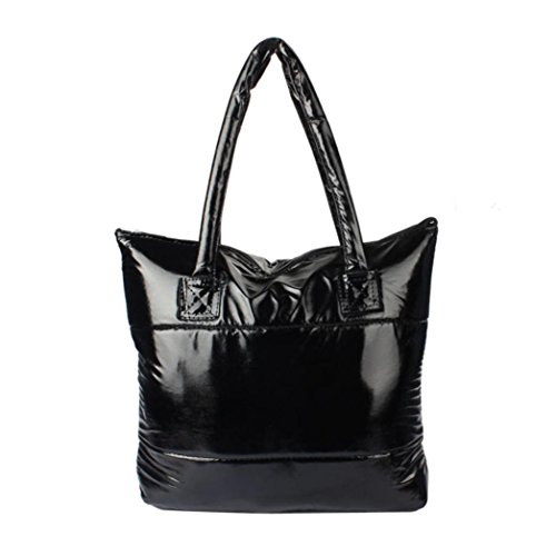 Handbag Totes Paymenow Feather Bale Bag Space Cotton Down Black Bag Women Sponge Girl Feather Shoulder 84aqznZWW